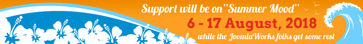 Support will be in summer mood from 6-17 August, 2018 while the JoomlaWorks folks get some rest.